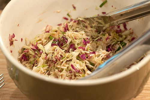 Combine ingredients for slaw for Asian Style Barbecue Chicken Sandwiches