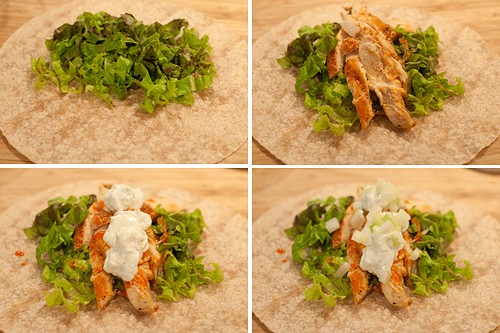 Assembling Grilled Buffalo Chicken Wrap