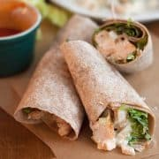 Buffalo wings in a wrap? You bet! This Grilled Buffalo Chicken Wrap is sure to be a favorite. https://www.lanascooking.com/grilled-buffalo-chicken-wrap/ #buffalochicken #wrap