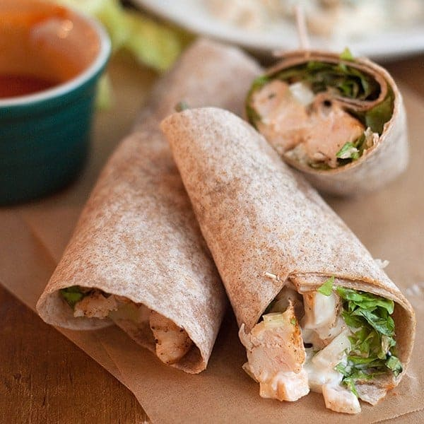 Buffalo wings in a wrap? You bet! This Grilled Buffalo Chicken Wrap is sure to be a favorite. From @NevrEnoughThyme https://www.lanascooking.com/grilled-buffalo-chicken-wrap/ #buffalochicken #wrap