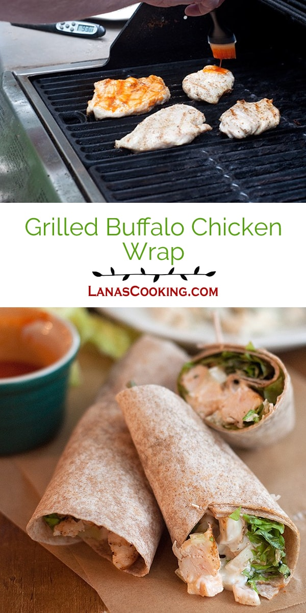 All the components of Buffalo wings in one nice, neat whole wheat wrap. From @NevrEnoughThyme https://www.lanascooking.com/grilled-buffalo-chicken-wrap/