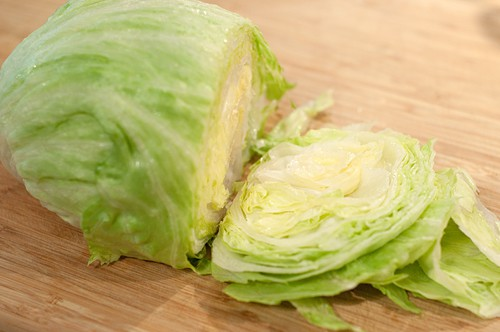 Prep lettuce for Ham and Black Bean Summer Salad