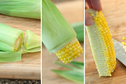 Prep the corn for Ham and Black Bean Summer Salad