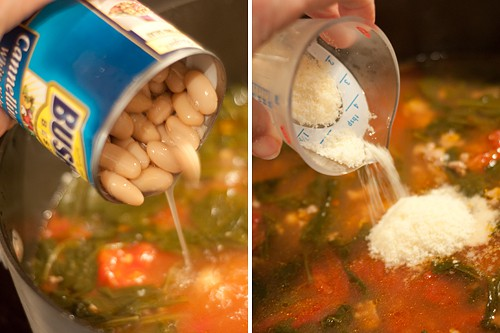 Add beans, Parmesan cheese, and salt to Italian Sausage, White Bean, and Spinach Soup