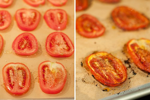 Making roasted tomatoes for Italian Sausage, White Bean, and Spinach Soup