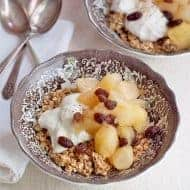 Pear and Apple Compote with Yogurt and Granola