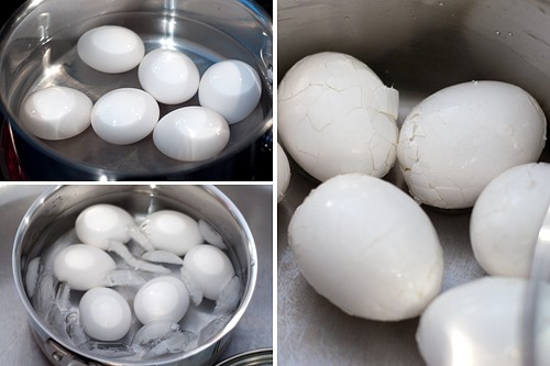Boil the eggs for Herbed Egg Salad