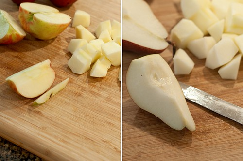 Peeling and coring pears and apples.