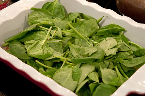 Layer spinach for Potato, Spinach, and Tomato Gratin