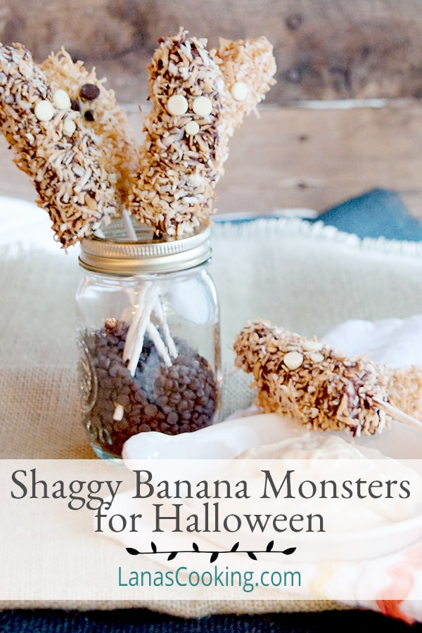 Perfect for Halloween, these Shaggy Banana Monsters are a great treat for kids of all ages. Chocolate covered bananas rolled in toasted coconut! From @NevrEnoughThyme https://www.lanascooking.com/shaggy-banana-monsters/