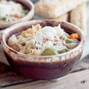 Classic Tuscan Minestrone soup - a classic Italian soup loaded with fresh, seasonal vegetables. Serve with Parmesan for topping and crusty Italian bread. https://www.lanascooking.com/tuscan-minestrone/