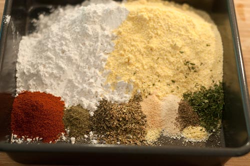 Flour and seasonings in a shallow pan.