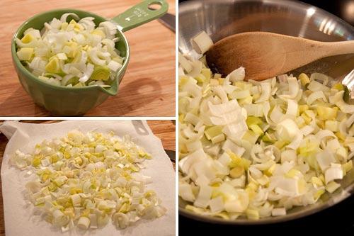 Prep leeks for Potato Leek Bacon Au Gratin