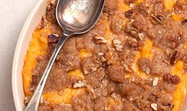 Southern heritage recipe for Sweet Potato Casserole with pecan topping. From @NevrEnoughThyme http://www.lanascooking.com/sweet-potato-casserole