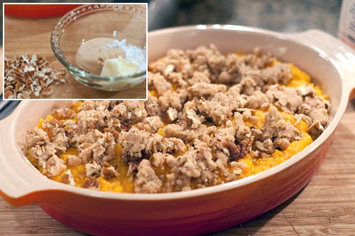 Mix topping and sprinkle over potato mixture for Sweet Potato Casserole