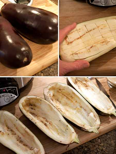 Prep the eggplant for Ricotta and Herb Stuffed Eggplant
