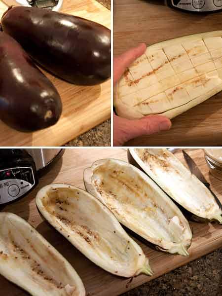 Prep the eggplant for Ricotta and Herb Stuffed Eggplant