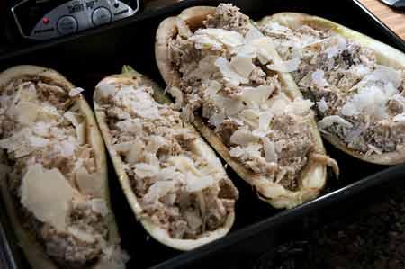 Stuff eggplant shells for Ricotta and Herb Stuffed Eggplant