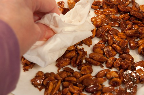 Blot excess oil from Sweet and Spicy Peanuts