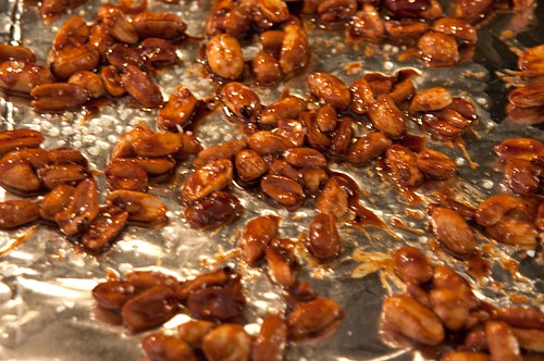Spread the Sweet and Spicy Peanuts out to cool and sprinkle with salt