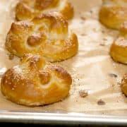 Homemade Soft Pretzels are a warm, buttery, delicious treat! https://www.lanascooking.com/soft-pretzels/