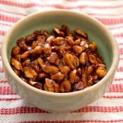 These Sweet and Spicy Peanuts are great finger food for parties! Keep them on hand for afternoon snacking or serve at your next tailgate. https://www.lanascooking.com/sweet-spicy-peanuts/