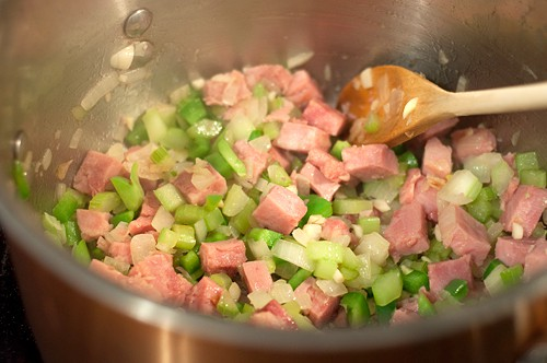Saute veggies and ham for Creole Black Eyed Pea Soup