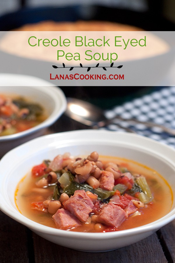 This Creole Black Eyed Pea Soup has all kinds of Southern goodness in a delicious soup! From @NevrEnoughThyme http://www.lanascooking.com/creole-black-eyed-pea-soup
