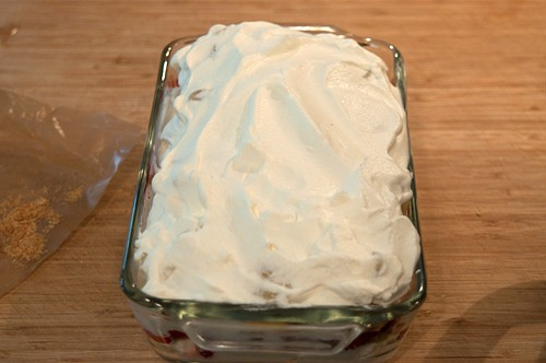 Completed layers for Banana Split Icebox Cake