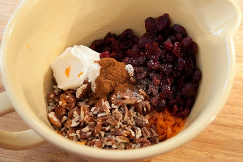Mix ingredients for Carrot and Dried Cranberry Salad