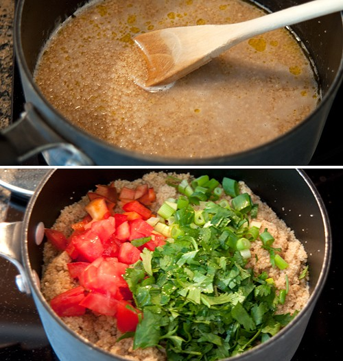 Prepare couscous for Layered Mexican Chicken Salad