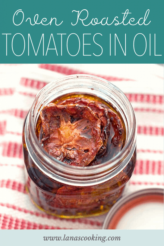 These Oven Roasted Tomatoes in Oil are a delicious way to use an over abundance of lovely ripe tomatoes! Use them in bruschetta for a huge burst of flavor. From @NevrEnoughThyme https://www.lanascooking.com/oven-roasted-tomatoes-in-oil/