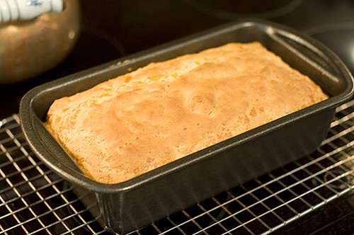 Bake Cheddar Dill Quick Bread until golden brown