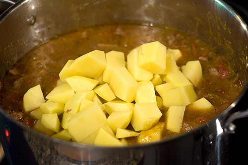 Add potatoes to Mexican Beef Stew
