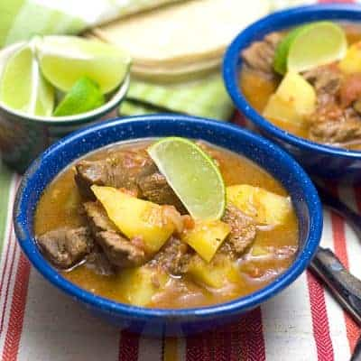 "Also known as ""Caldillo,"" this Mexican Beef Stew is rich and spicy with the delicious flavors of Mexico. From @NevrEnoughThyme https://www.lanascooking.com/mexican-beef-stew/"