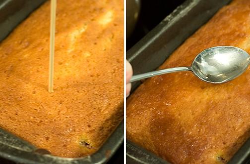Apply glaze for Lemon Raspberry Bread