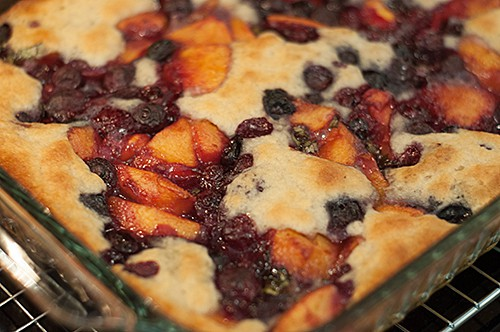 Peach Blueberry Basil Cobbler