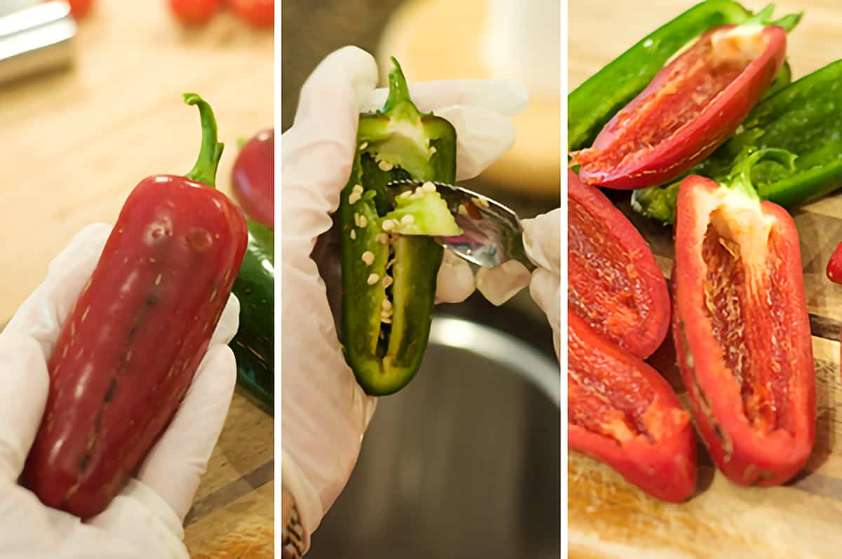 Prep the jalapenos for Sausage Stuffed Bacon Wrapped Jalapenos