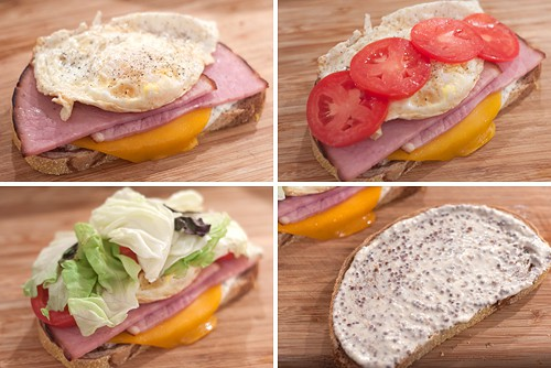 Assemble Ham on Rye Breakfast Sandwiches
