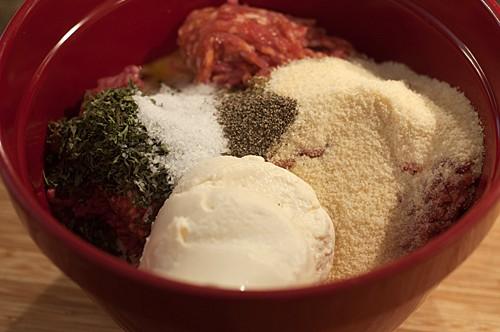 Mixture for Jumbo Meatballs and Spaghetti