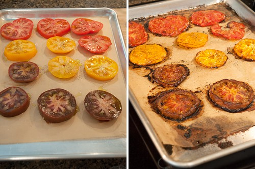 On the left, sliced fresh tomatoes; on the right, tomato slices after roasting