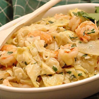 Shrimp and Artichokes with Noodles