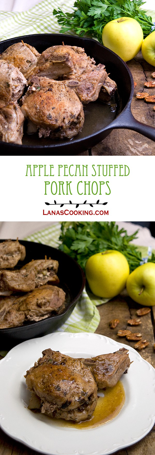Use some of fall's bounty to make these Apple Pecan Stuffed Pork Chops. Perfect for company or family weekend dinner. From @NevrEnoughThyme http://www.lanascooking.com/apple-pecan-stuffed-pork-chops/ #apples #pork