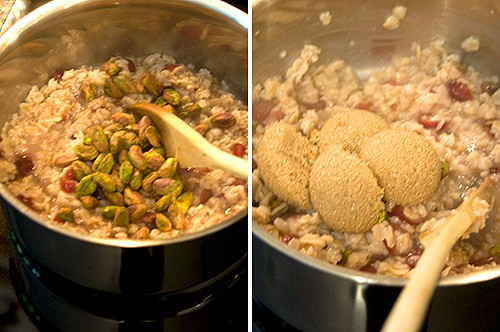 Stir in pistachios and brown sugar for Cranberry Pistachio Oatmeal