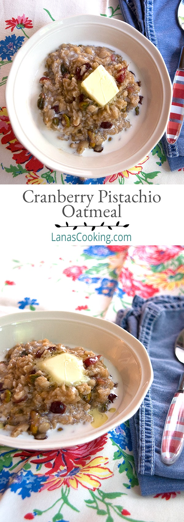 This Cranberry Pistachio Oatmeal is just a little something different for your mornings. Liven up that daily bowl of oatmeal with these delicious additions. From @NevrEnoughThyme https://www.lanascooking.com/cranberry-pistachio-oatmeal/