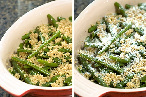 Breadcrumbs and Parmesan cheese topping added to green beans.