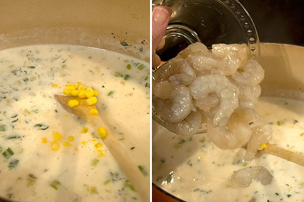Add shrimp and corn to Shrimp and Corn Chowder