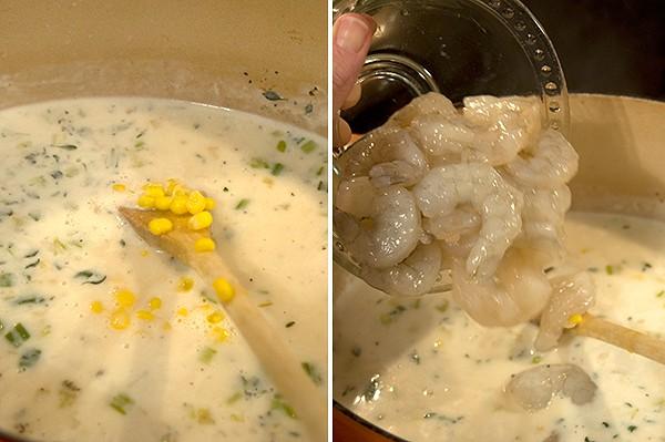 Stirring in corn and shrimp.