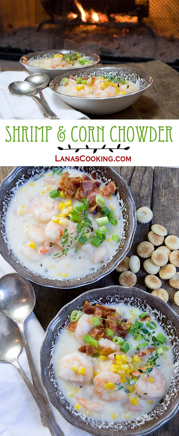 This Shrimp and Corn Chowder is very quick to make, delicious, and satisfying. Try it the next time you need a bit of comfort food. From @NevrEnoughThyme http://www.lanascooking.com/shrimp-and-corn-chowder/