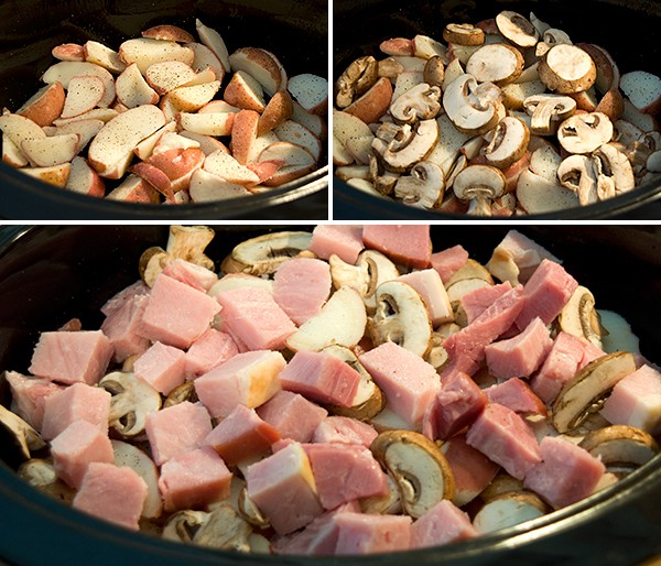 Layer potatoes, mushrooms, and ham in slow cooker. Combine all remaining ingredients in a large bowl. Stir until combined. Pour over ingredients in slow cooker. Cover and cook on high 2 1/2 hours or until potatoes are tender. Turn cooker to low and continue cooking for 1 additional hour. Makes 8-10 servings. Enjoy!